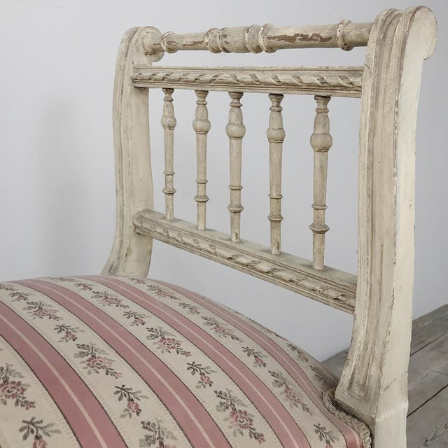 19th Century French Painted Louis XVI Armbench ~ Banquette For Sale - Image 10 of 12