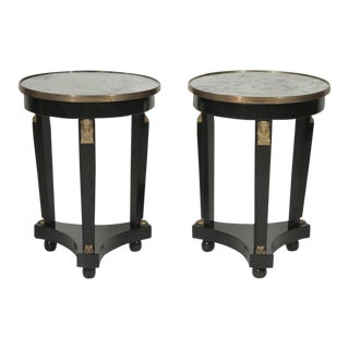 20th Century Hollywood Regency Ebonized Mirror Top Side Tables - a Pair