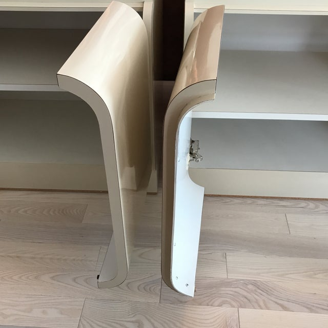 Vintage Waterfall White Laminate Nightstands - A Pair - Image 9 of 9