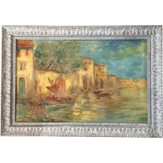 Mid Century Original Painting Depicting the Waterways of Venice, Italy, Signed For Sale