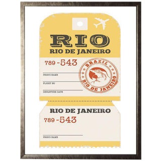 """Rio De Janeiro Travel Ticket in Pewter Shadowbox - 13.5""""x 17.5"""" For Sale"""