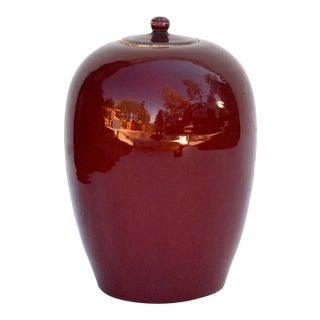 Antique Large Chinese Sang De Boeuf Porcelain Melon Jar For Sale