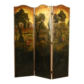 Antique 20th Century English Painted Landscape Leather Screen For Sale