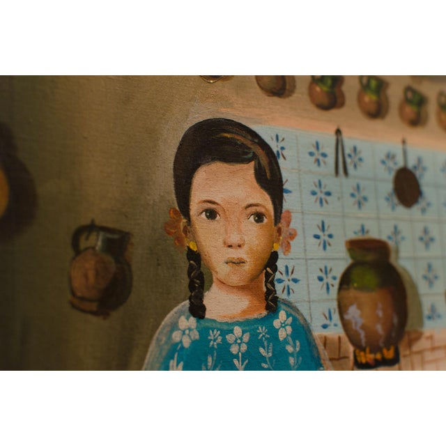Rustic 1950 'Girl in Kitchen' Painting by Lilia Carrillo For Sale - Image 3 of 8