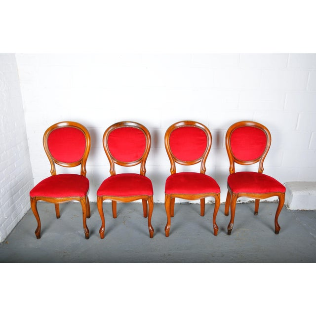 Vintage Set of 4 French Louis XV Maple Dining Chairs W/ Red Velvet Upholstery For Sale - Image 11 of 11