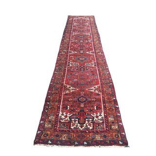Colorful Persian Heriz Runner - 16′ × 3′3″ For Sale