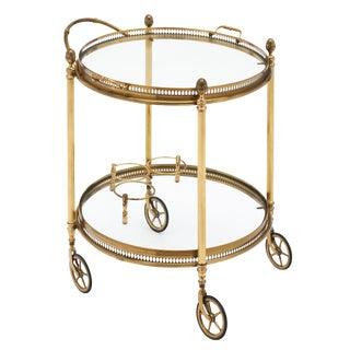 Art Deco Period French Brass Bar Cart For Sale