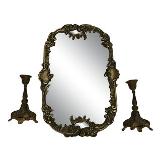 Rococo French Brass Mirror/ Vanity Tray & Candleholders - Set of 3 For Sale