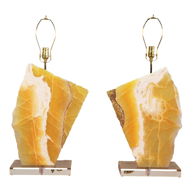Beautiful Pair of Modern Yellow Marble Table Lamps For Sale