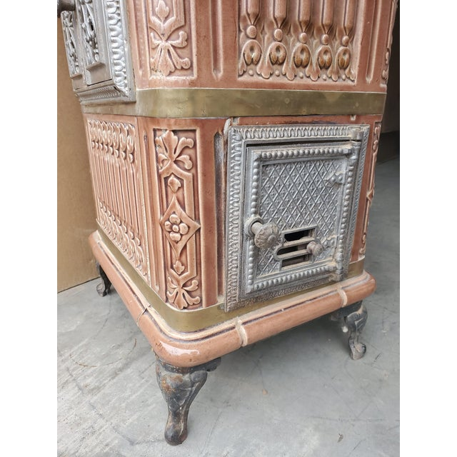 Art Nouveau 19th Century French Sarreguemines Ceramic Tile Heating Stove For Sale - Image 3 of 12