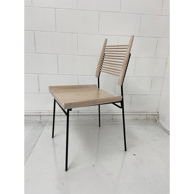 Contemporary Paul McCobb Style Oak and Iron Chairs- Set of 4 For Sale - Image 3 of 13