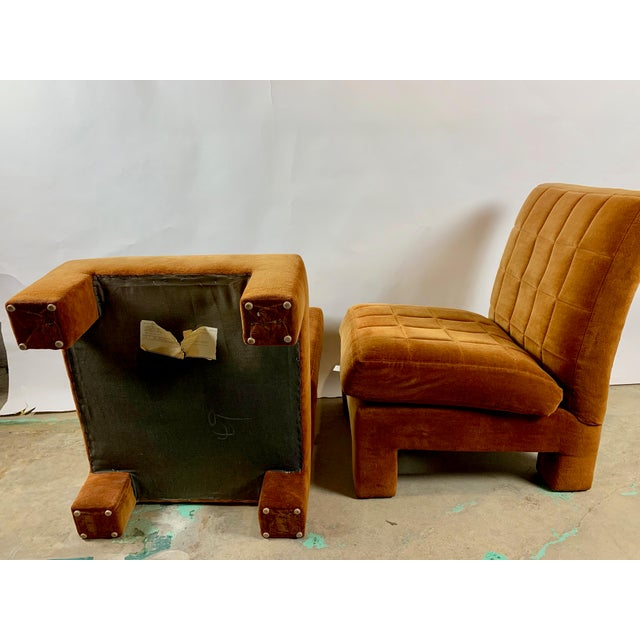 Textile Milo Baughman for Thayer Coggin Slipper Chairs - a Pair For Sale - Image 7 of 8