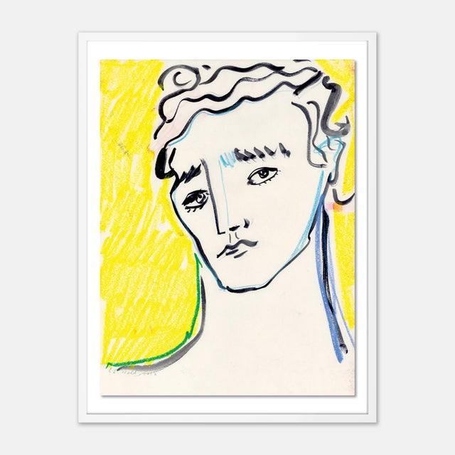 Contemporary Portrait by Luke Edward Hall in White Frame, Small Art Print For Sale - Image 3 of 3