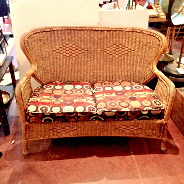 Orange 20th Century Country Wicker Settee With Groovy Fabric For Sale - Image 8 of 8