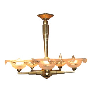 French Art Deco 5-Light Bronze and Glass Shade Chandelier For Sale