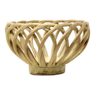 Vintage Studio Art Pottery Rope Ceramic Decorative Bowl For Sale