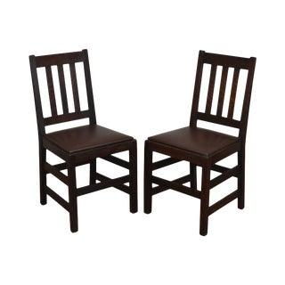 Antique Mission Oak Pair Side Chairs For Sale