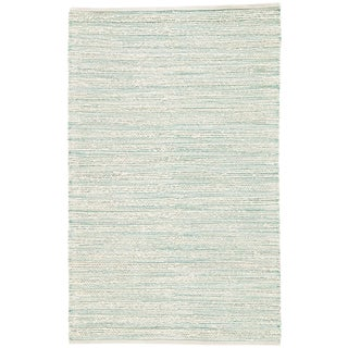 Jaipur Living Canterbury Natural Stripe White/ Turquoise Area Rug - 8′ × 10′ For Sale