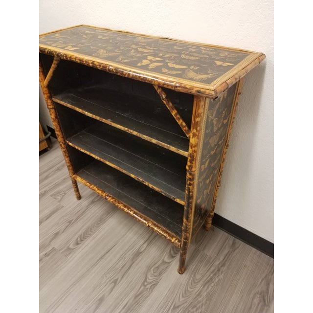 Antique English Bamboo Decoupaged Bookcase With Butterflies For Sale - Image 13 of 13