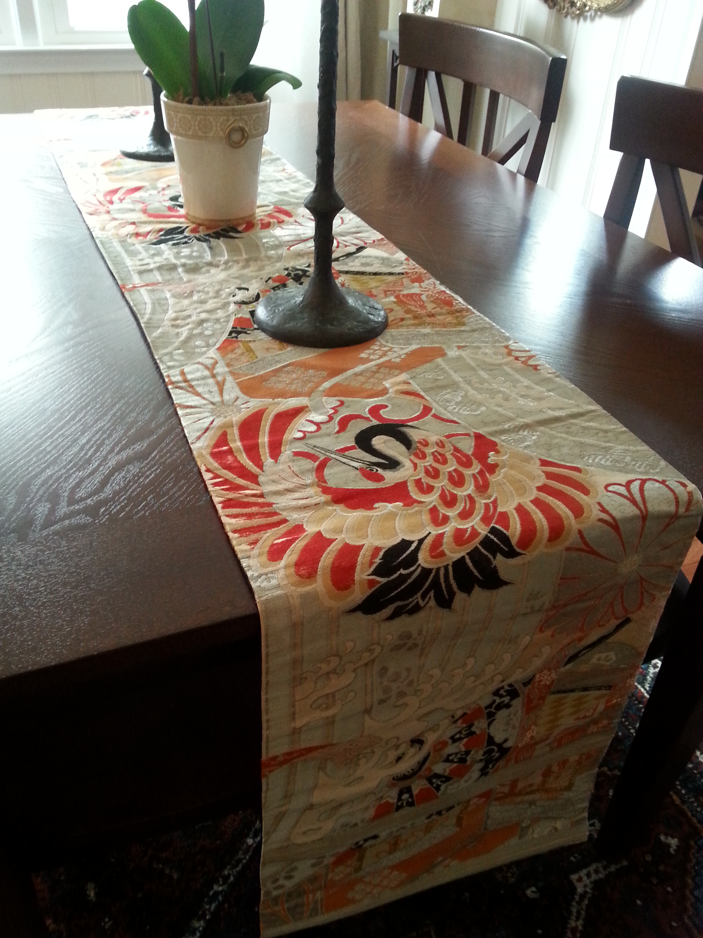 Merveilleux Vintage Japanese Silk Obi Table Runner   Image 3 Of 11