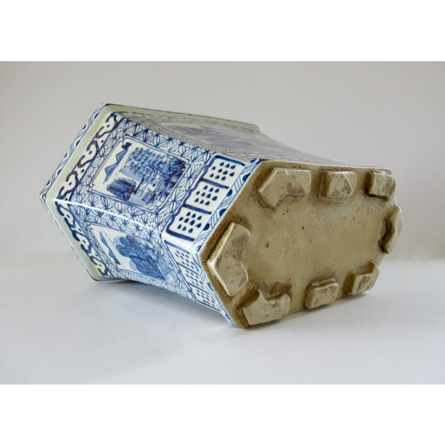 Chinoiserie Blue & White Hexagonal Jardiniere For Sale - Image 11 of 13