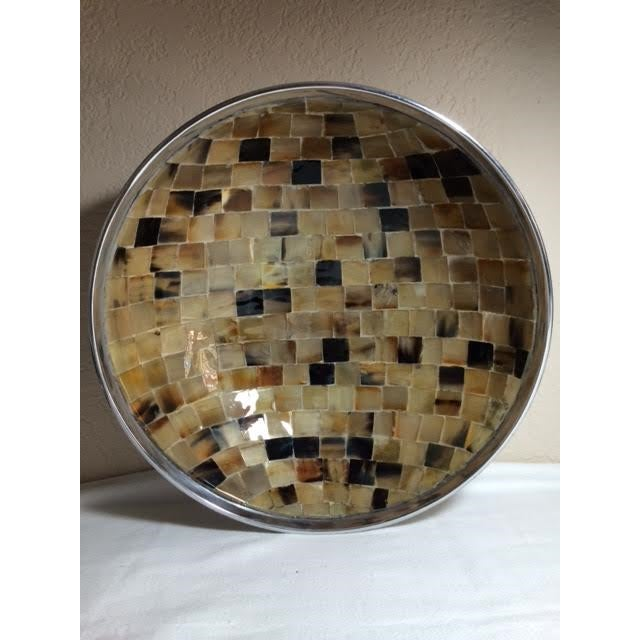 Shell Mosaic & Metal Tabletop Bowl - Image 3 of 5