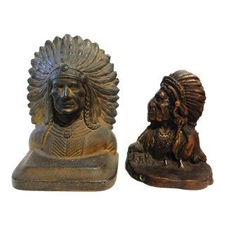 Vintage Native American Chiefs Bronze Book Ends - a Pair For Sale