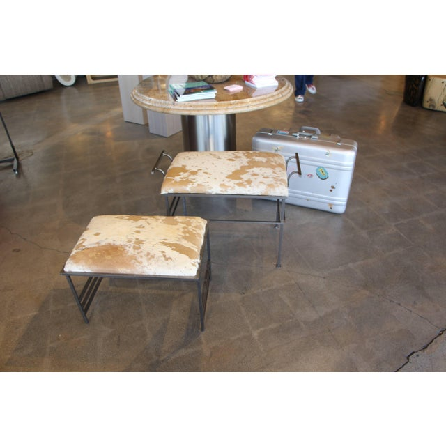 Metal Great Steel Benches With Debrided Hide Seats-A Pair For Sale - Image 7 of 7