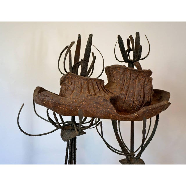 Abstract Clay and Metal Sculpture by Leon Roloff For Sale - Image 3 of 10