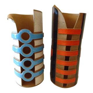 Venezuela Adriana Art Cylinder Pottery Vases - a Pair
