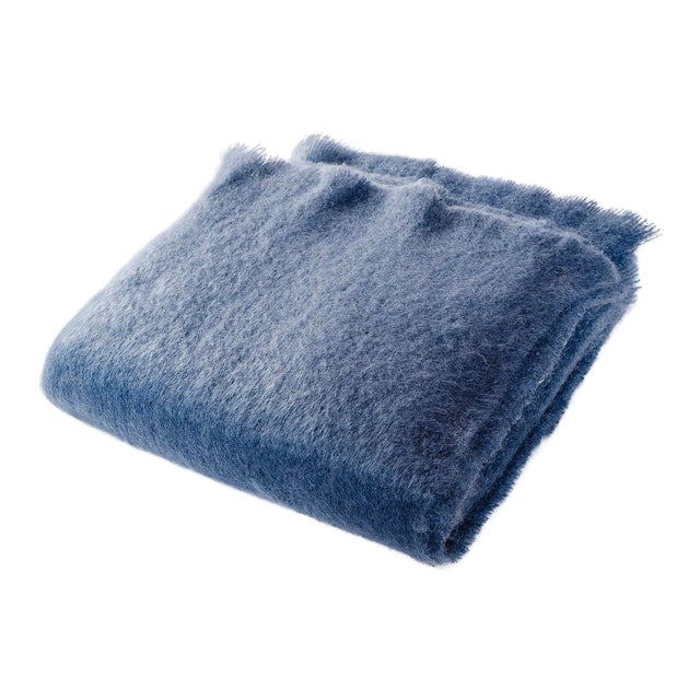 Contemporary Luxe Mohair Denim Throw For Sale
