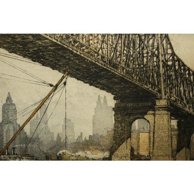 Luigi Kasimir -Queensborough Bridge New York-Original Color Etching C.1936 For Sale - Image 4 of 10