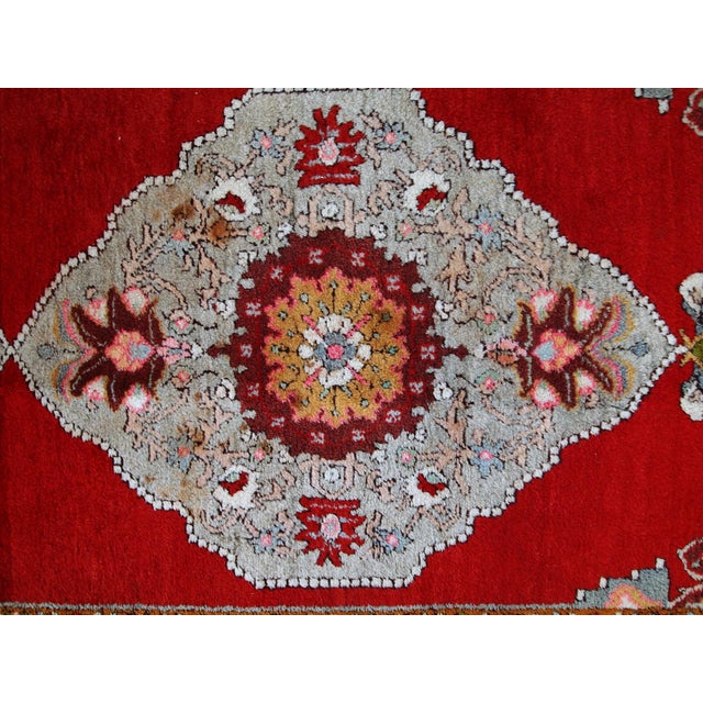Red 1940s Handmade Vintage Turkish Oushak Runner - 3′7″ × 11′1″ For Sale - Image 8 of 10