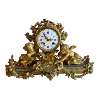 Antique French Rococo Figural Mantel Clock For Sale