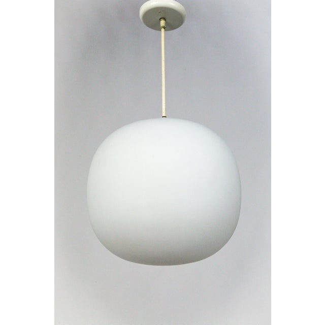 Danish Modern Flattened White Glass Sphere Pendants (2 Available) For Sale - Image 11 of 11