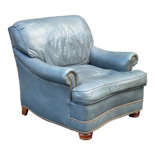 Hancock & Moore Leather Nailhead Lounge Chair For Sale