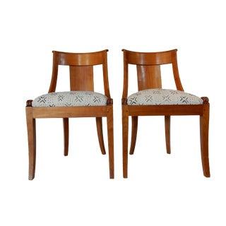 Geometric Upholstered Biedermeier Side Chairs - A Pair