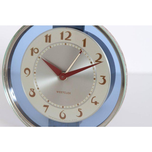 1930s Machine Age Art Deco Westclox Desk Clock Chrome with Cobalt Glass For Sale - Image 5 of 11