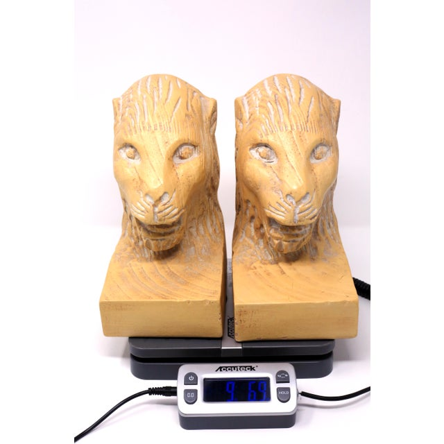Yellow Vintage Hand Carved Lion Head Bookends For Sale - Image 8 of 10
