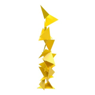 "Abstract Modern ""Trougao"" Yellow Triangle Garden Sculpture"