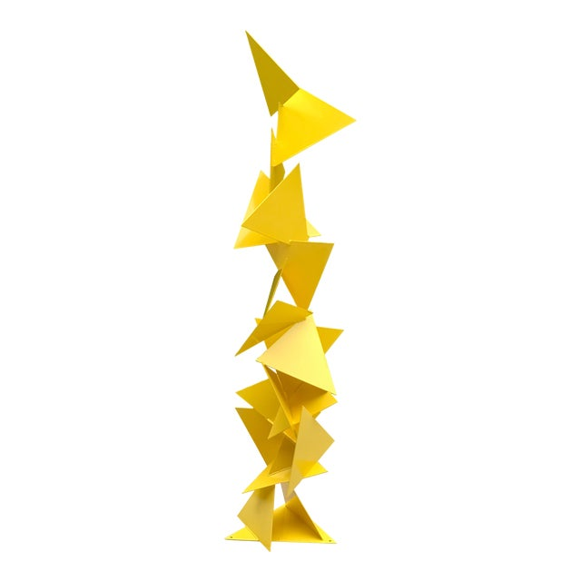 """Abstract Modern """"Trougao"""" Yellow Triangle Garden Sculpture For Sale"""