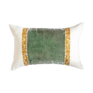 Francesca White Linen & Sea Foam Velvet Lumbar Pillow For Sale