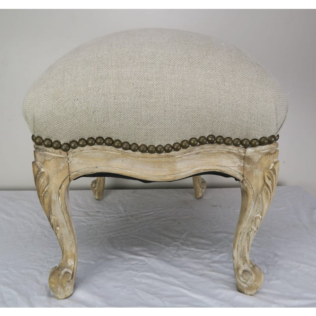 Tan French Louis XV Style Linen Bench, Circa 1900 For Sale - Image 8 of 13