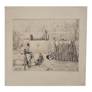 "Rare Southwest Etching ""The Pueblo"" by Ernest Watson Burdge c.1900"