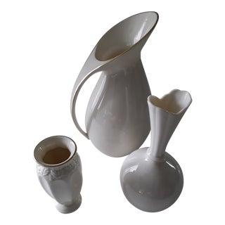 Lenox Cream Pottery Vases - Set of 3 For Sale