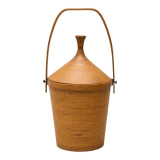 Danish Basket in Patinated Beech for Illums Bolighus, 1950s For Sale