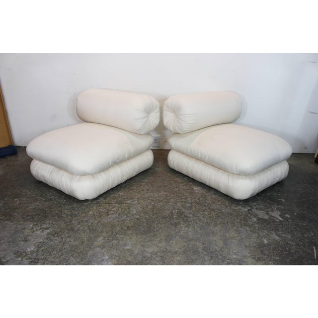 Wood Pair ofand Sculptural Roll Back Slipper Chairs and Ottomans For Sale - Image 7 of 8