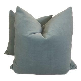 """Robin's Egg Blue Velvet 22"""" Pillows-A Pair For Sale"""