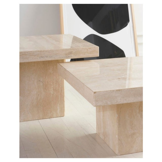 Stone Trio of Polished Travertine Cocktail Tables For Sale - Image 7 of 8