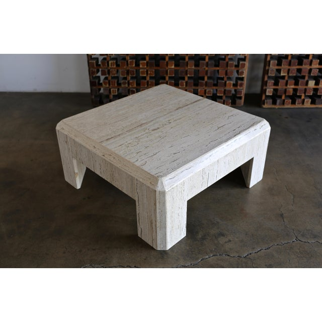 1980s 1980s Vintage Modernist Travertine Coffee Table For Sale - Image 5 of 10